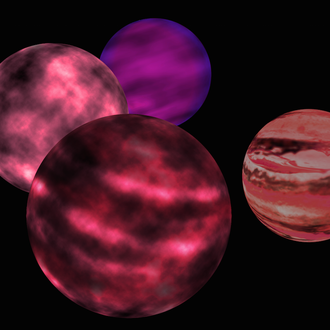 magenta-violet gaseous spheres